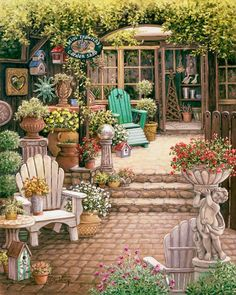 Janet Kruskamps Paintings - Miss Trawicks Garden Shop, a painting of a courtyard leading towards an open door, a courtyard filled with all sizes and shapes of flower planters and flowers, statuary, a gazing ball and wooden patio furniture are also in the courtyard framed by trees and flowers. One of the Gardens and Florals Gallery of Original Oil Paintings and  original paintings by Janet Kruskamp