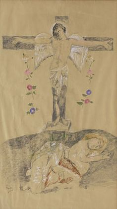 Eros on the cross and Stella Violandi, 1989 (Pencil, pastel and chalk on kraft paper)