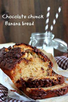 Frambuesa y Caramelo: Pan de platano con trocitos de chocolate
