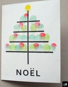 Fingerprint art Christmas card