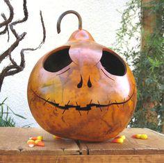 Halloween Fall Decoration Pumpkin Jack Skellington Orange Carved Gourd