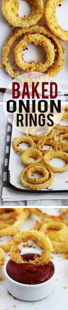 By creme del la crumb. Easy and insanely delicious baked onion rings. No fuss, no messy deep frying, and still all of the flavor you love in a traditional onion ring! Baked Onion Rings, Healthy Onion Rings, Onion Rings Recipe, Tapas, Baked Onions, Cuisine Diverse, Deep Frying, Vegetable Dishes, Appetizer Recipes
