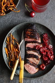 Pan-Fried Marinated Duck Breasts with Cinnamon-Spiced Cherries - Autoimmune Wellness