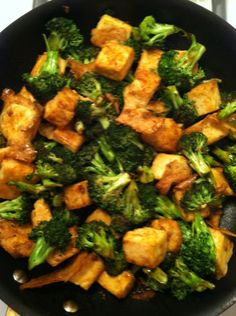 Mongolian Tofu. This is a super EASY way to make tofu. Of course I leave out the egg white. I have also baked tofu plain since I found this recipe and I love how it comes out. Prepared plain, the baked tofu is great to add to cold pasta/rice/quinoa/leaf salads. As well as eat it with your fingers! Yum!