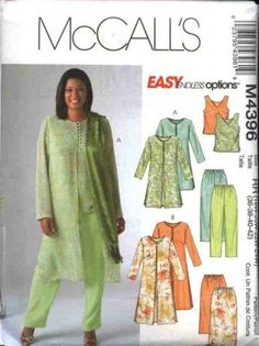 Sewing Blusas McCall's Sewing Pattern 4396 Womans Plus Size Easy Wardrobe Top Pants Skirt Duster - Plus Size Sewing Patterns, Mccalls Sewing Patterns, Clothing Patterns, Pattern Sewing, Pattern Drafting, Women's Clothing, Sewing Clothes Women, Diy Clothes, Clothes For Women