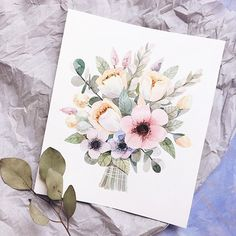 Vicky_od on Instagram. Нарисовать второй букет по мотивам своего же,оказалось не так то просто, но результат мне нравится #floral #botanical #art