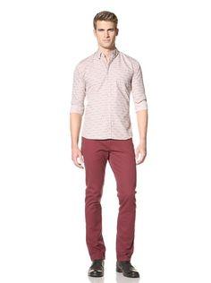75% OFF SIFR Men\'s Long Sleeve Ditsy Print Shirt (White Base)