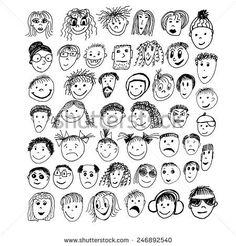 stick figure faces. Vector