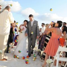 Love This Beach Ball Toss At Grand Cayman Wedding Such Great Details