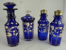 Victorian Cobalt Blue Glass and Enamel Condiment Set