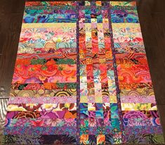 "KAFFE FASSETT ~ Strip & Flip ~ Quilt Top 40 1/2"" X 49"" Made in NC #100Cotton"