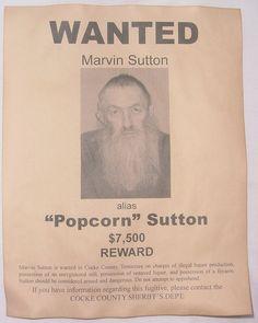 Set of 5 Wanted Posters, Moonshiner, Popcorn Sutton, Big Haley, Johnse Hatfield, Bootleg Stills. $10.00, via Etsy.
