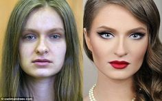 Using just make-up, Vadim transforms plain women into Hollywood stars with perfect skin and features