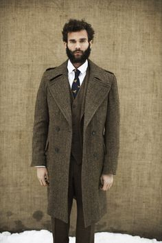 tweed men's overcoat - perfect for a day out at Doncaster Racecourse