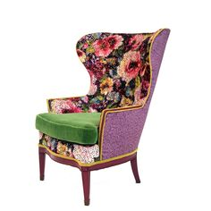 Velvet Furniture, Funky Furniture, Accent Furniture, Vintage Furniture, Painted Furniture, Wingback Accent Chair, Wing Chair, Upholstered Chairs, Floral Accent Chair