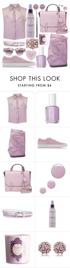 """""""Organized Lavender"""" by lifestyle-ala-grace ❤ liked on Polyvore featuring Goldie, Essie, Paige Denim, Common Projects, Topshop, Michael Todd, H&M, tarte, Chanel and blouse"""
