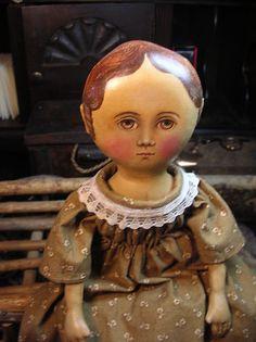 Primitive Folk Art Cloth Doll Gail Wilson Design | eBay