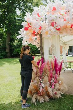 Early Hours London created a floral + tassel wall, marquee floral +balloon entrance, floral trampoline + flower swing for a Summer of Love Garden party Balloon Flowers, Rainbow Flowers, Summer Flowers, Wall Flowers, Wedding Ideas Board, Wedding Flower Inspiration, Flower Ideas, Floral Wedding, Wedding Colors