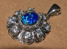 blue fire opal Cz necklace pendant Gemstone silver jewelry vintage style  P9 #Pendant