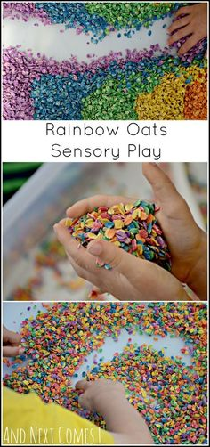 Rainbow oats - How to dye oats for sensory play. Rainbow oats - How to dye oats for sensory play. Nursery Activities, Infant Activities, Preschool Activities, Children Activities, Art Children, Summer Activities, Family Activities, Toddler Activities For Daycare, Rainbow Crafts Preschool