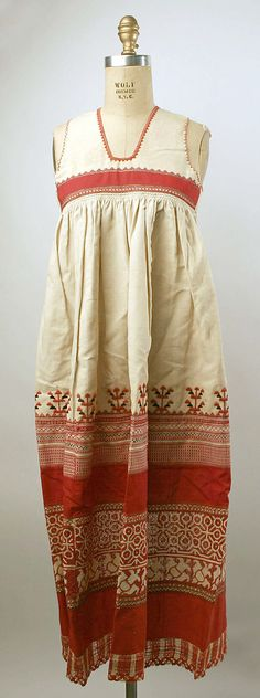 Apron Date: 19th century Culture: Russian Medium: linen, cotton Dimensions: Length: 48 x 48 in. (121.9 cm) Credit Line: Gift of Miss Is...
