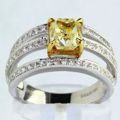 2.34 ct GIA Certified Cushion Cut Fancy Yellow Diamond Engagement Ring #BigAppleJewels #SolitairewithAccents