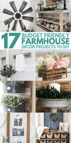 home decor farmhouse DIY Farmhouse decor ideas that are so easy to do you have no excuse not to try them! These cheap DIY rustic decor projects will change the look of your bedroom, mantle, living room, and bathroom on a small budget! Diy Rustic Decor, Vintage Farmhouse Decor, Elegant Home Decor, Easy Home Decor, Cheap Home Decor, Farmhouse Style, Modern Farmhouse, Farmhouse Design, Farmhouse Rules
