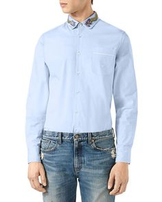 GUCCI Duke Cotton Shirt With Dragon Embroidery, Blue. #gucci #cloth #