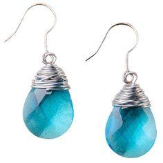 Bridget Aqua Earrings via Polyvore featuring jewelry, earrings, hook earrings, wrap earrings, teardrop jewelry, aqua earrings and teardrop earrings