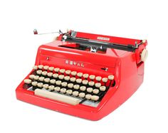 Vintage 1955 Bright Red Royal Quiet De Luxe Manual Typewriter  # Get it from seller BMTvintage on Etsy