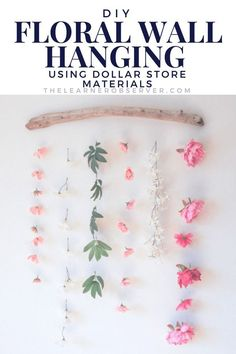 DIY Flower Wall Hanging - The Learner Observer How to make a flower wall hanging with faux flowers t Hanging Flower Wall, Flower Wall Decor, Diy Hanging, Diy Wall Decor, Faux Flowers, Diy Flowers, Flower Ideas, Flower Diy, Flower Garlands