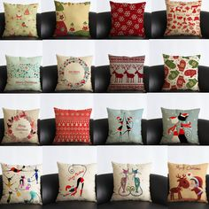 Vintage Cotton Linen Throw Pillow Case Comfortable Cushion Cover Christmas Decor #Unbranded