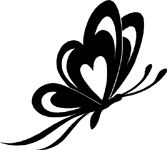 Butterfly With Heart Wings Sticker