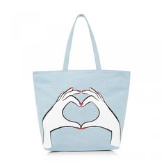 Heart Hands Denim Luisa Tote: Make a practical addition to your everyday essentials with this graphic stonewashed denim tote. Featuring this seasons heart hand motif in this slouchy style it has enough room to store everything you'll need.  - Visit Lulu Guinness at http://www.luluguinness.com/