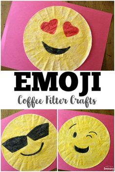 DIY Coffee Filter Sunglasses Emoji Craft Kids will love making these easy coffee filter emoji crafts! via The post DIY Coffee Filter Sunglasses Emoji Craft appeared first on School Ideas. School Age Crafts, School Age Activities, Daycare Crafts, Craft Activities, Preschool Crafts, Kids Daycare, Diy School, Classroom Crafts, Camping Activities