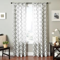 @Overstock - Penby Burnout Rod Pocket Curtain Panel - Available in a blue, silver or chocolate color option, Penby burnout sheer window treatments offer a contemporary and traditional look. The sheer panels are finished with rod pockets for easy hanging.  http://www.overstock.com/Home-Garden/Penby-Burnout-Rod-Pocket-Curtain-Panel/9491481/product.html?CID=214117 $49.49