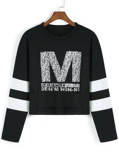 Black White Round Neck M Print Crop T-Shirt 12.53