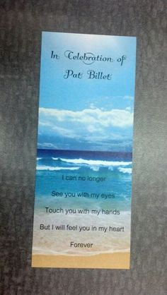 Bookmark (front) for funeral. She loved the ocean!