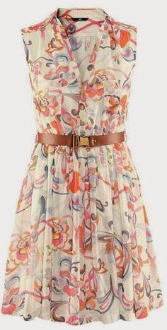 Floral print sleeveless belt chiffon dress