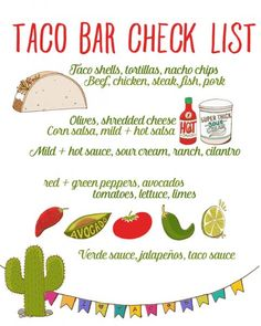 Get ready for a Cinco de Mayo fiesta with these ideas! Create a nacho bar, a DIY sangria stand, and use this free taco bar printable! Party Time, Party Ideas, Casino Party, House Party, Grad Parties, 2nd Birthday Parties, Birthday Ideas, Bachelorette Parties, Ideas Party