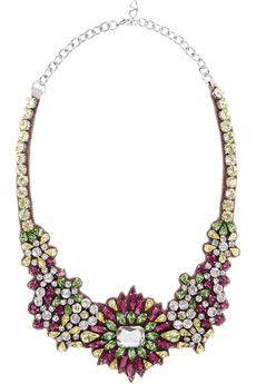 Valentino sparkling silver-plated Swarovski crystal bib necklace