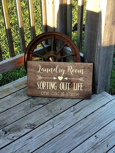 Laundry Room Sign - Sorting Out Life One Load At A Time - Laundry Room Decor - Rustic Laundry Sign - Decor for Laundry Room Diy Signs, Wall Signs, Laundry Room Signs, Laundry Rooms, Farmhouse Laundry Room, Reno, Diy Wall, Interior Design Living Room, Wooden Signs