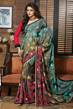 Grey Silk Printed Saree