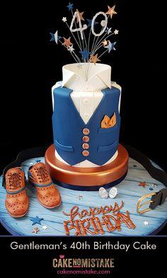 Gentleman's double barrel waistcoat birthday cake with collar, silver cufflinks,. Gentleman's double barrel waistcoat birthday cake with collar, silver cufflinks, Barker-style bro 40th Birthday Cakes For Men, Cake Birthday, Monogram Birthday Cakes, Mens 40th Birthday Cake, Birthday Ideas, 40th Cake, Cake Design For Men, Shirt Cake, Adult Party Themes