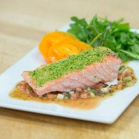 Herb Crusted Salmon with Tomato Vinaigrette with Pressure Oven Sur La Table