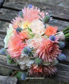 dalie, róże, eryngium