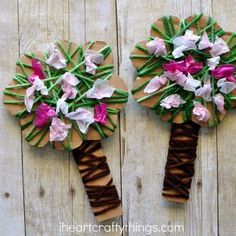 Celebrate the beautiful season of spring by making this pretty yarn wrapped blossoming spring tree craft. It is a great spring kids craft and the yarn wrapping and crunching tissue paper squares helps to work those important fine motor skills. Sheep Crafts, Yarn Crafts, Paper Crafts, Spring Activities, Activities For Kids, Cherry Blossom Art, Spring Tree, Spring Crafts For Kids, Spring Blossom