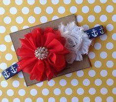 4th of July Headband Red White & Blue Navy Anchor Nautical Headband Photo Prop