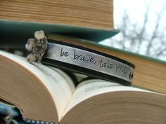 www.MyBellaMarketplace.com  #MyBellaMarketplace  Be Brave Take Risks Custom Hand Stamped Motivational Leather Cuff with Hand Altered Metal Cherry Blossoms by MyBella