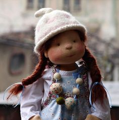 Look at this cute face! Waldorf inspired doll by Maria's Nature Toys